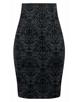 Double Trouble Apparel High Waisted Damask Pencil Skirt by Double Trouble Apparel