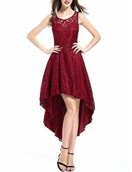 Oten Women's Retro Lace Wedding Party Bridesmaid Sleeveless Prom High Low Cocktail Dress by Oten