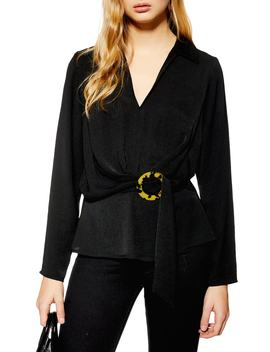 Horn Buckle Collar Blouse by Topshop