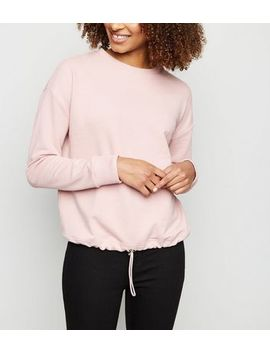 Pale Pink Drawstring Hem Sweatshirt by New Look
