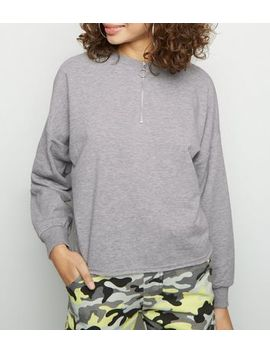 Grey Marl Half Zip Sweatshirt by New Look