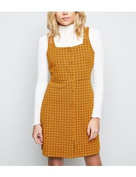 Orange Check Button Front Pinafore Dress by New Look