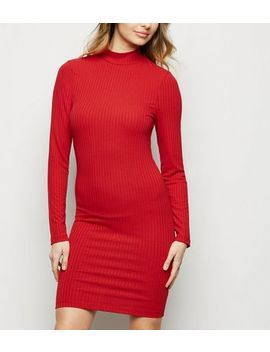Dark Red Ribbed High Neck Mini Dress by New Look