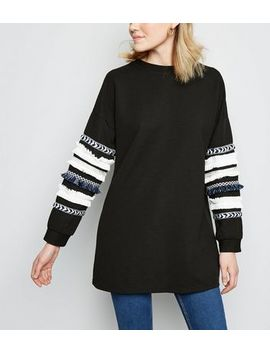 Cameo Rose Black Ribbed Tassel Trim Sweatshirt by New Look