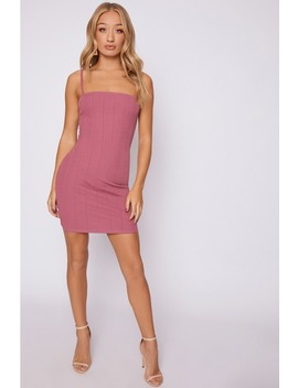 Addie Mauve Bandage Square Neck Mini Dress by In The Style
