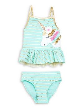Baby Girl's Two Piece Unicorn Ruffled Swimsuit by Flapdoodles