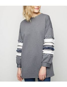 Cameo Rose Grey Ribbed Tassel Trim Sweatshirt by New Look