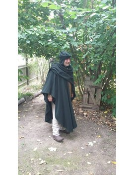 Cloak Dark Green With Hood, Cape Man, Cape Medieval, Cape, Wool Coat, Medieval, Green, Dark Green, Fantasy, Larp, Vikings by Etsy