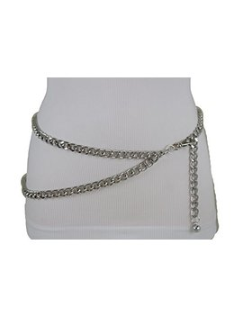 Tfj Women Narrow Belt Hip High Waist Silver Metal Chunky Chain Strands S M by Trendy Fashion Jewelry
