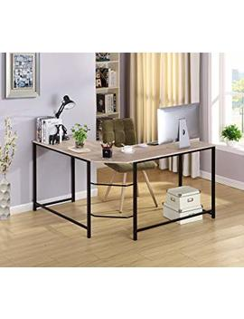 Oak Wood Finish Black Metal L Shape Corner Computer Desk Pc Laptop Table Workstation Home Office by None