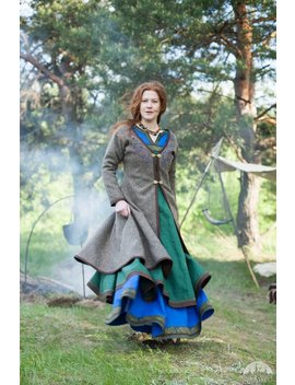 "Womens Coat Viking Kaftan ""Ingrid"" With Embroidery; Woolen Coat; Viking Costume by Etsy"