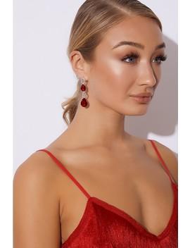 Red Jewel Drop Earrings by In The Style