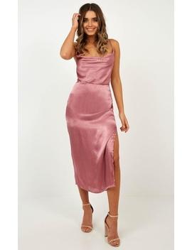 In My Eyes Dress In Rose Satin by Showpo Fashion