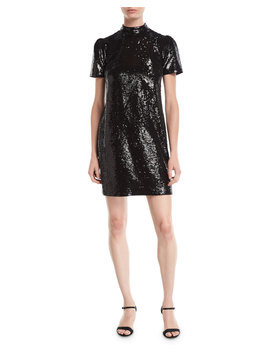 Short Sleeve Mock Neck Sequined Dress by Michael Michael Kors