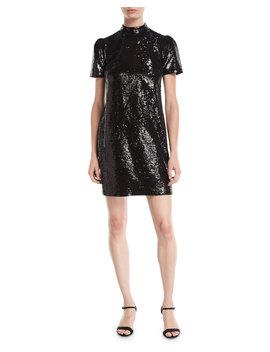 Short Sleeve Mock Neck Sequined Dress by Michael Michael Kors
