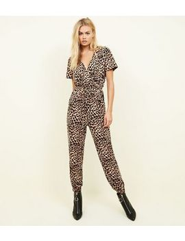 Brown Leopard Print Soft Touch Jumpsuit by New Look