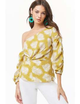 One Shoulder Leaf Print Top by Forever 21