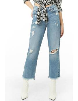 Distressed Frayed Ankle Jeans by Forever 21