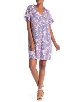 Short Sleeve Print Shirt Dress by Bobeau