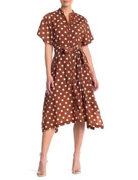 Polka Dot Print Shirtdress by Melloday