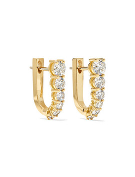 Aria U Huggie 18 Karat Gold Diamond Earrings by Melissa Kaye