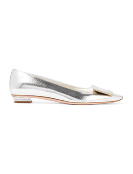 Belle Vivier Graphic Metallic Textured Leather Flats by Roger Vivier