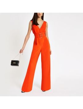 Red Belted Wide Leg Jumpsuit by River Island