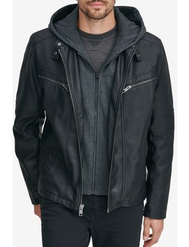 Corbett Removable Knit Hood Faux Leather Jacket by Andrew Marc