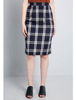 Erudite Energy Plaid Pencil Skirt by Modcloth