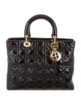 Patent Large Soft Lady Dior Tote by Christian Dior