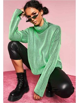 Faye Neon Green Ribbed Knit Roll Neck Jumper by Missy Empire