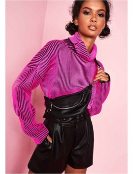 Faye Neon Pink Ribbed Knit Roll Neck Jumper by Missy Empire
