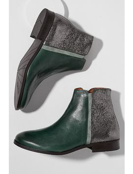 Esska Metallic Panelled Leather Ankle Boots by Esska