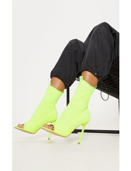 Neon Lime Square Toe Lycra Peeptoe Sock Boot by Prettylittlething