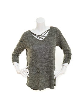 Plus Size Absolutely Famous 3/4 Ruched Sleeve Cage Neck Top by Boscov's