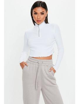 White High Neck Lettuce Hem Zip Up Crop Top by Missguided