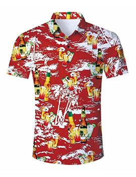 Uideazone Men Summer Button Down 3 D Printed Aloha Shirt Casual Short Sleeve Tropical Beach Hawaiian Shirts by Uideazone