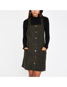 Khaki Cord Dungaree Dress by River Island