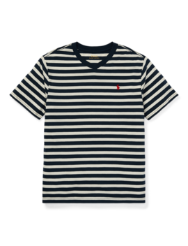 Striped Jersey V Neck T Shirt by Ralph Lauren