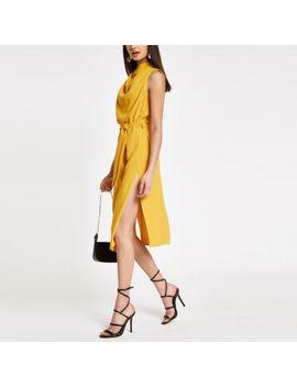 Yellow Cowl Neck Tie Waist Sleeveless Dress by River Island