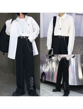 Magma   Plain Shirt / Face Embroidered Wide Leg Pants / Metal Grommet Belt With Chain by Magma