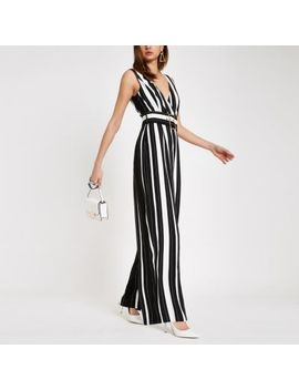 Black Stripe Belted Wide Leg Jumpsuit by River Island