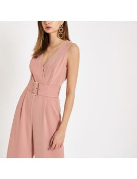 Pink Pinstripe Belted Wide Leg Jumpsuit by River Island