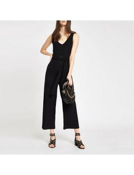 Black Ribbed V Neck Tie Waist Jumpsuit by River Island