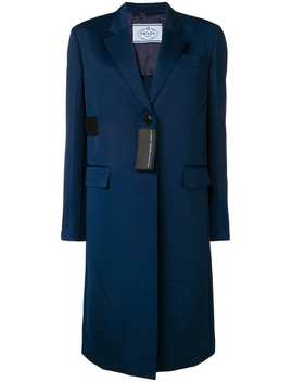 Patch Detail Mid Length Coat by Prada