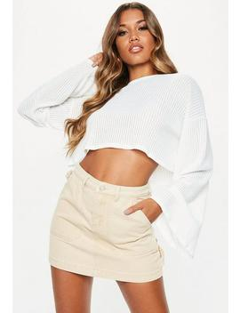 White Ribbed Flare Sleeve Sweatshirt by Missguided
