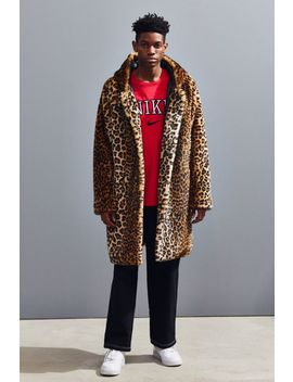 Uo Long Hooded Faux Fur Leopard Print Coat by Urban Outfitters