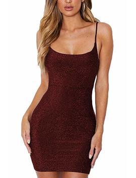 Meyeeka Women's Spagetti Strap Lace Up Backless Bodycon Glitter Party Mini Dress by Meyeeka
