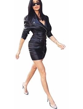 Speedle Faux Leather Long Sleeve Button Down Shirt For Women Party Clubwear by Speedle