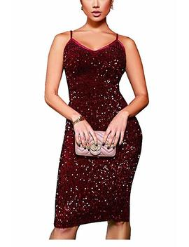 Sequin Dresses For Women Party Night Sexy   Spaghetti Strap V Neck Sleeveless Mesh Sequined Bodycon Midi Dress by Prettyol